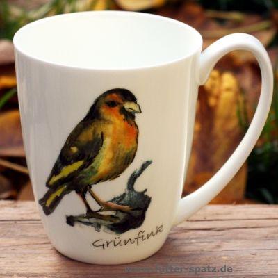 Tasse Grünfink aus hochwertigem Porzellan