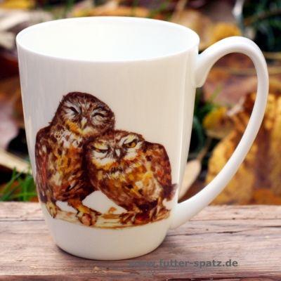 Tasse Waldkäuze aus hochwertigem Porzellan