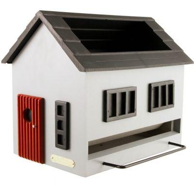 Vogelfutterhaus mit Bad -graues Haus-