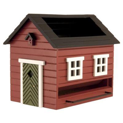 Vogelfutterhaus mit Bad -rotes Haus-